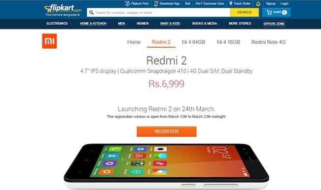 Xiaomi Redmi 2 sale on Flipkart on March 24