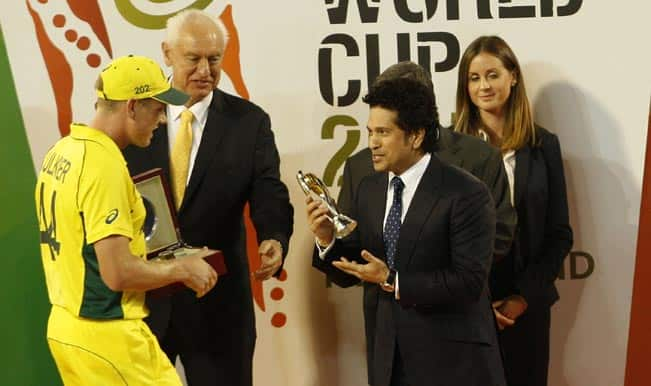 ICC Cricket World Cup 2015: Sachin Tendulkar presents awards at Final in front of record attendance at MCG