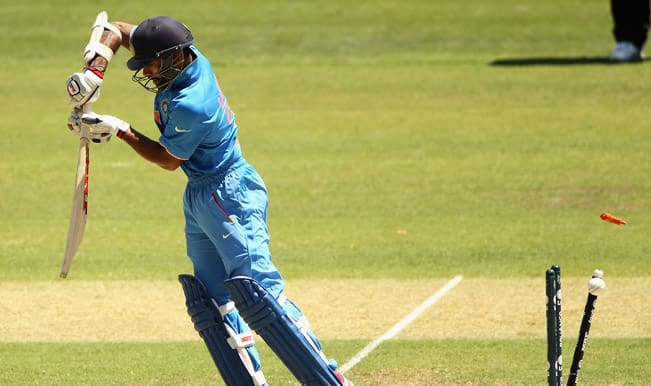 Shikhar Dhawan OUT! India 76/1 in 12.5 Overs against Australia in ICC Cricket World Cup 2015 semifinal