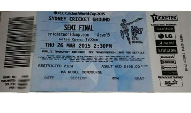 India vs Australia Cricket World Cup 2015 Semi-Final Ticket: Here is how the IND vs AUS ticket looks like!
