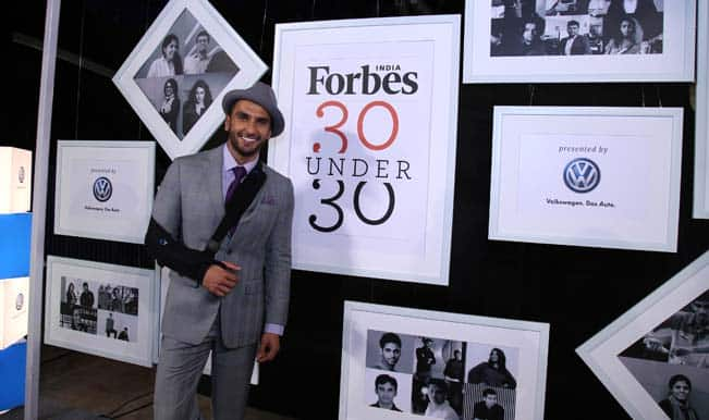 Ranveer Singh on Forbes 30 under 30 young achievers list