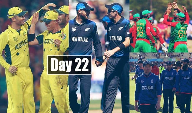 2015 Cricket World Cup Day 22: Highlights, Points Table and Schedule for upcoming matches of WC 2015