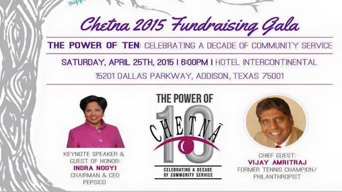 Indra Nooyi, Vijay Amritraj to Attend Chetna's 10th Fundraising Gala in Texas