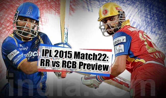 Rajasthan Royals vs Royal Challengers Bangalore, IPL 2015 Match 22 Preview: Leaders RR look to pile more misery on RCB