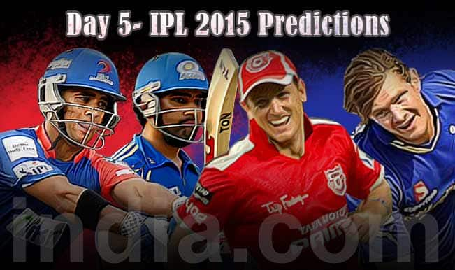 IPL 2015 Day 5: Today's Prediction, Current Points Table and Schedule for upcoming matches of IPL 8