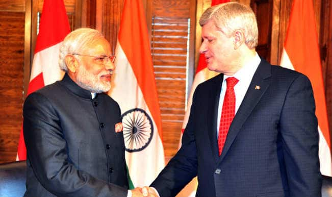 Narendra Modi gifts Guru Nanak Dev miniature painting to PM Stephen Harper