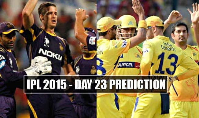 IPL 2015 Day 23: Today's Prediction, Current Points Table and Schedule for upcoming matches of IPL 8