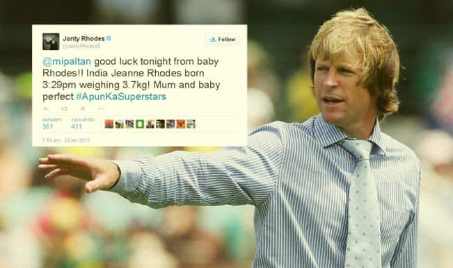 Jonty Rhodes blessed with baby girl 'India'