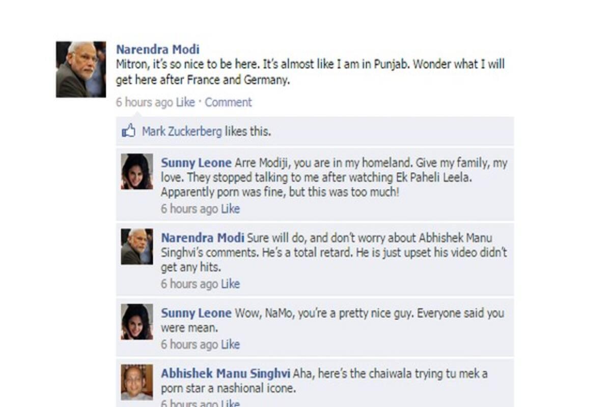 Narendra Modi in Canada: Facebook Wall starring Sunny Leone