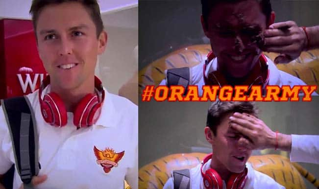 Sunrisers Hyderabad celebrate maiden IPL 2015 win by smearing cake on Trent Boult's face! Watch Video