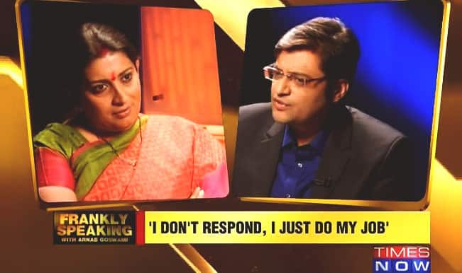 Smriti Irani vs Arnab Goswami Full Interview: Union HRD Minister locks horns on 'Frankly Speaking'; Arnab left red-faced on Times Now!
