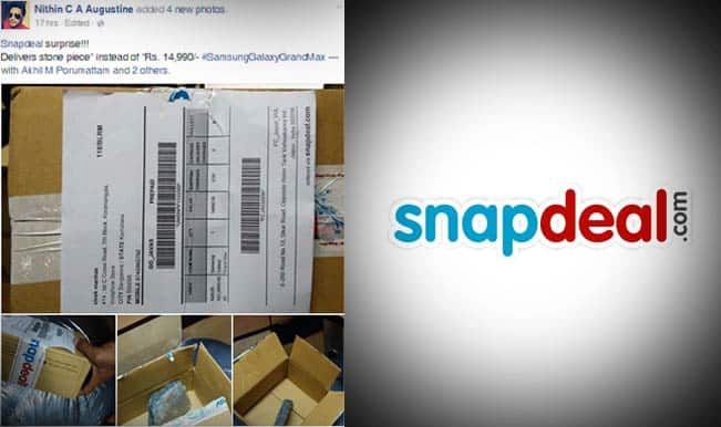 Snapdeal does it again! The e-commerce site delivers stone instead of Samsung Galaxy Grand Max