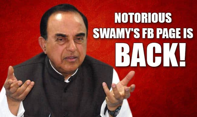 OMG! Subramaniam Swamy uses the C word on Facebook