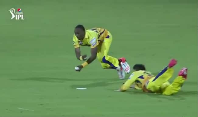 Dwayne Bravo takes super catch in Chennai Super Kings vs Kolkata Knight Riders match: Watch video