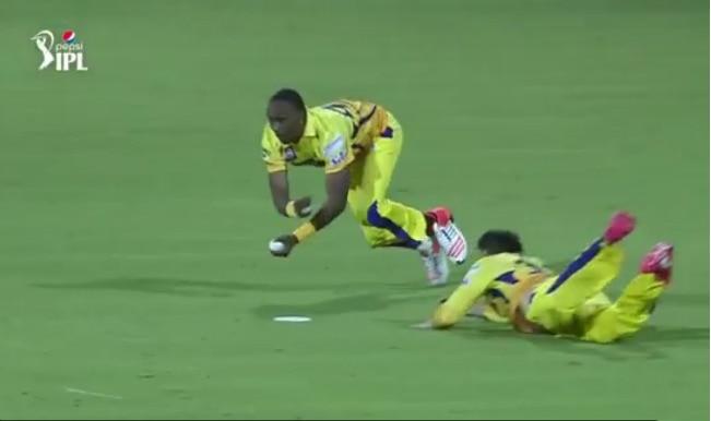 Dwayne Bravo takes super catch in Chennai Super Kings vs Kolkata Knight Riders match: Watch video