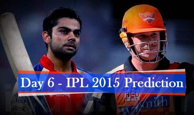 IPL 2015 Day 6: Today's Prediction, Current Points Table and Schedule for upcoming matches of IPL 8
