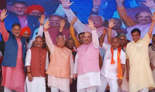 #SaalEkShuruaatAnek: BJP President Amit Shah addresses rally in Karnal – Watch Video