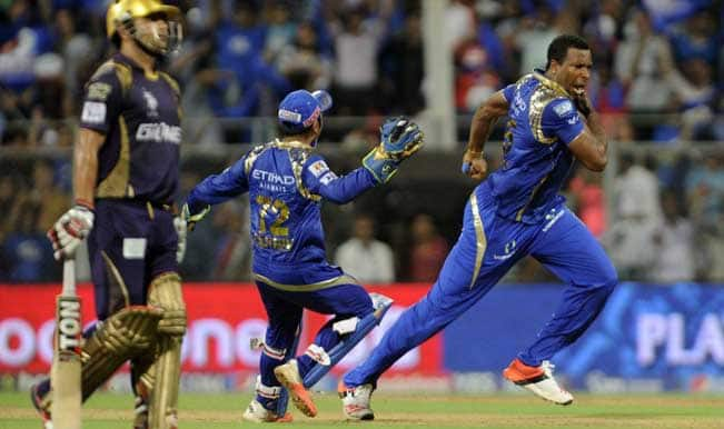IPL 2015: Mumbai Indians keep play-off hopes alive with 5 run win over Kolkata Knight Riders