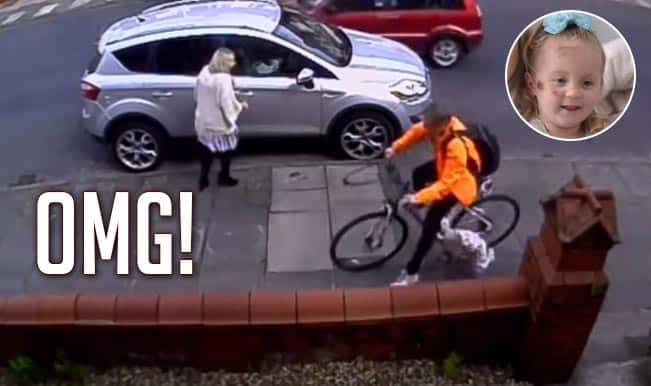3-year-old girl knocked down by cyclist, gets dragged across the footpath! [Watch Video]