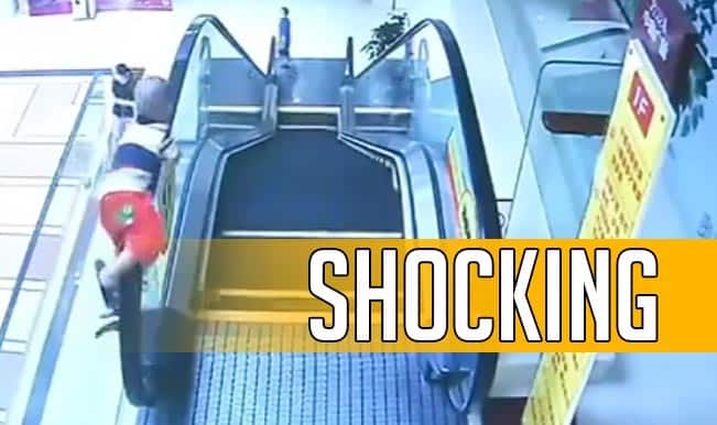 2-year-old child ditches death after falling off an escalator at shopping centre! [Watch Full Video]