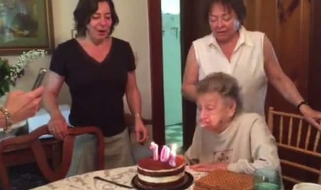This 102-year-old lady loses dentures while blowing out candles! Watch cute video