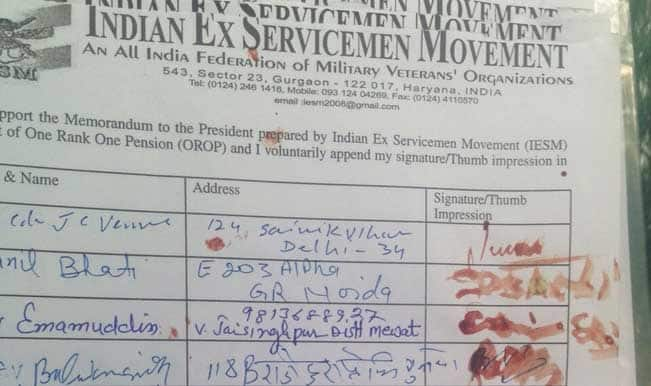 One Rank One Pension Row: Veterans ink petition with blood to protest delay in OROP implementation