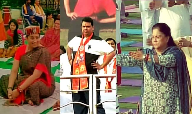 International Yoga Day 2015: Smriti Irani, Devendra Fadnavis, Vasundhara Raje praticipate in Yoga Day celebration