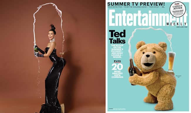 Kim Kardashian's Paper Magazine Cover Pose spoofed by Ted the Teddy bear for Entertainment Weekly