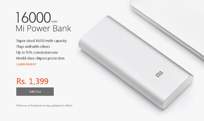 Xiaomi Mi Band and 16000 mAh Power Bank sold out