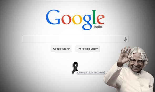 In memory of Dr. APJ Abdul Kalam Google puts black ribbon on homepage!