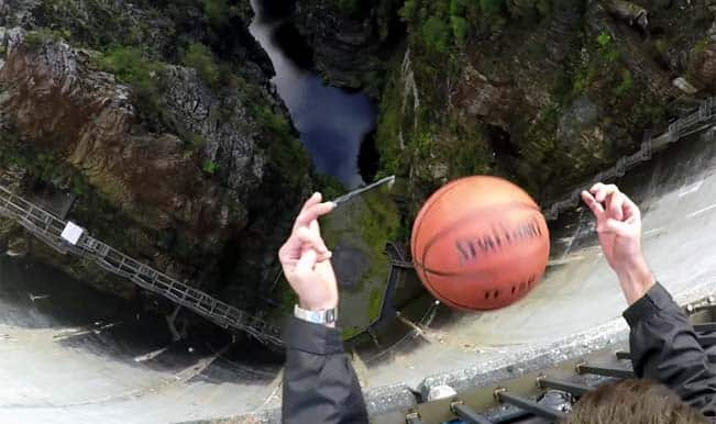 Video: Basketball soars across the air because of this trick