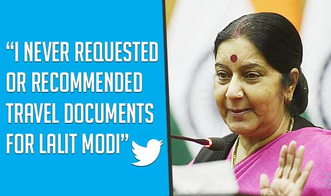 Sushma Swaraj denies recommending travel documents for Lalit Modi