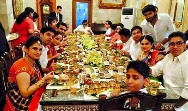 Amitabh Bachchan dines with Kalyan Jewellers family using pure gold dinner set