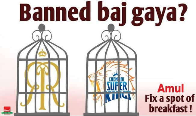 Amul ad poster targets CSK & RR after being banned from IPL