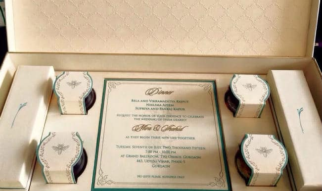 Shahid Kapoor-Mira Rajput wedding card revealed: An elegant invite to guests for 7th July wedding
