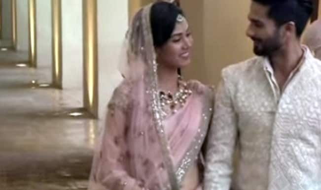 Shahid Kapoor and Mira Rajput wedding video: Holding hands in first public appearance together!