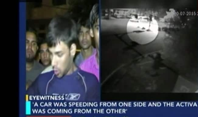 Shocking video: Student dies after being mowed down by speeding car in Delhi!