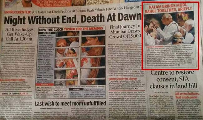 Yakub Memon over Dr APJ Abdul Kalam funeral? Times of India slammed on social media for its coverage