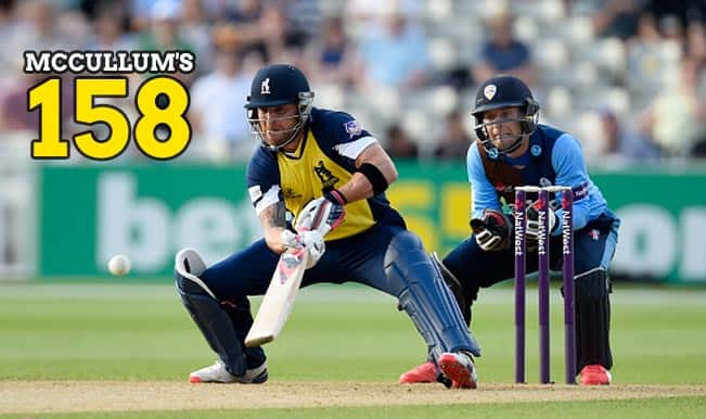 Watch Brendon McCullum's 158 from 64 balls against Derbyshire