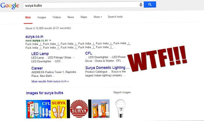 F**k India? Surya Bulbs gets trolled: Google Search 'Surya Bulb' to find out what the hacker did!