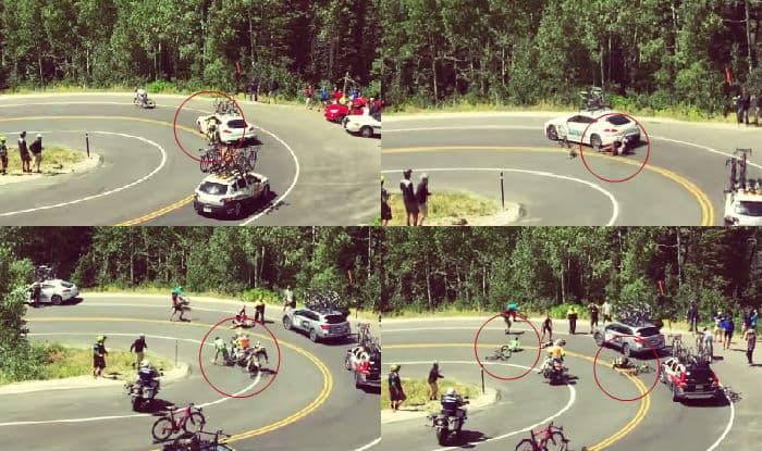 Tour of Utah: Professional cyclist crashed into a service vehicle during the race
