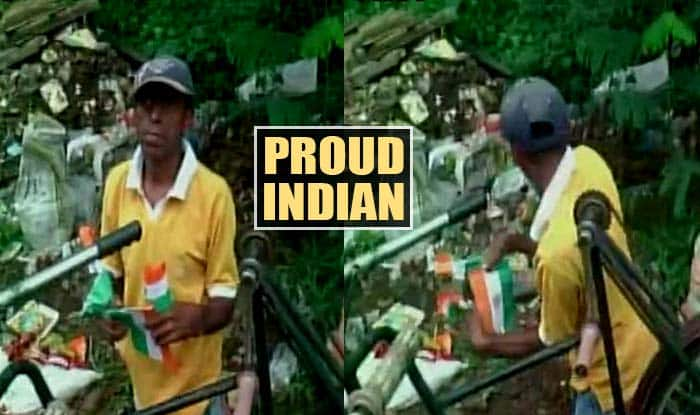 Specially abled child picks up Indian flags thrown after Independence Day