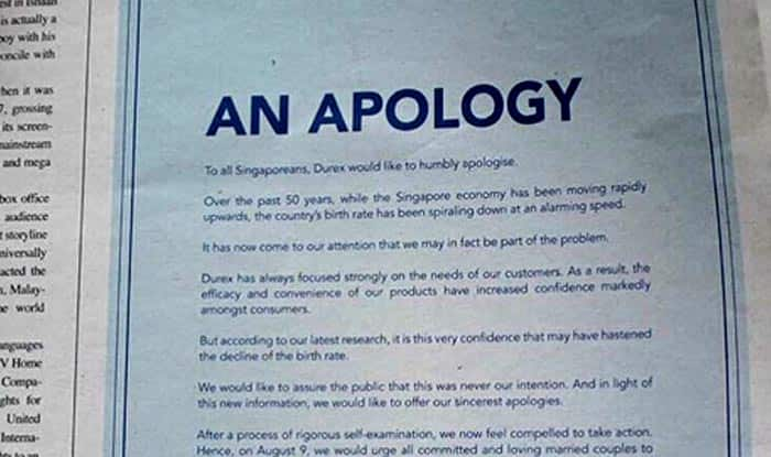 Durex asks people not to wear condom & have unprotected sex! Issues apology