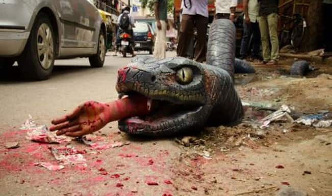 OMG! Giant anaconda feasting on a human, sighted on the streets of Bengaluru