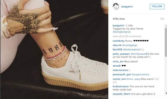 Rihanna unveils new tattoo above her ankle