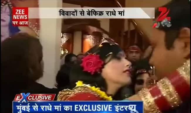 Radhe Maa kisses Zee News reporter, introduces her family members: Exclusive video