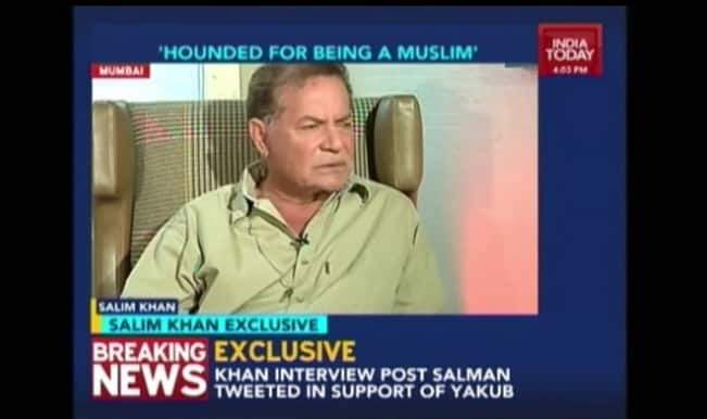 Salim Khan clarifies Salman Khan's tweet on Yakub Memon: Watch India Today interview
