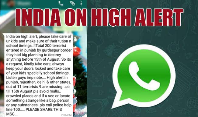 Message of terror attack in India before Independence Day goes viral on WhatsApp