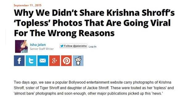This Krishna Shroff 'topless' pictures story, harping on journalistic ethics, got trolled big time!