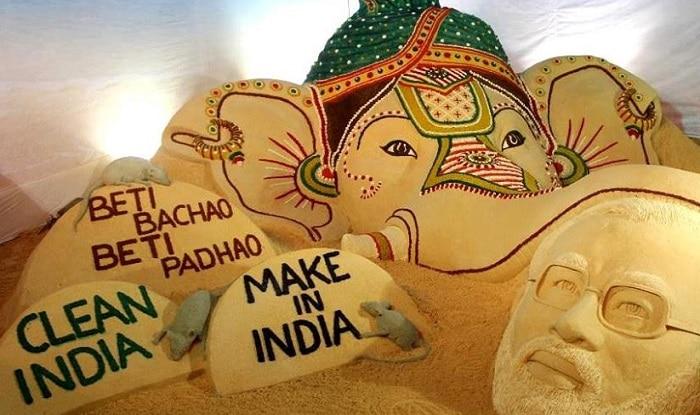 Sudarsan Pattnaik creates beautiful sand art marking Narendra Modi's 65th Birthday and Ganesh Chaturthi